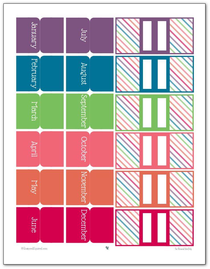 Acessórios planejador imprimíveis em 2016 abas cores-mensais e marcadores de página
