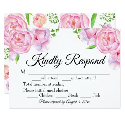 Watercolor Floral Pink Roses Response Card - rose style gifts diy customize special roses flowers