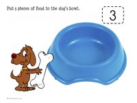 D is for dog play dough mats. Make dog food from play dough and place the correct number of pieces in the dog's (or cat's) bowl.
