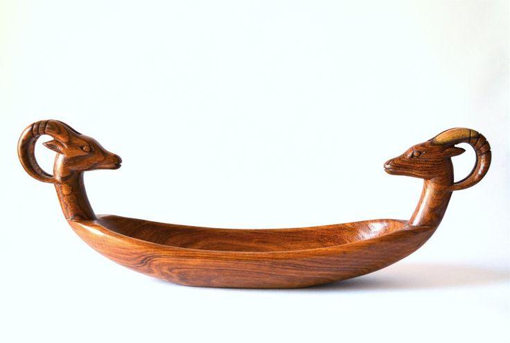 Unique Hand-carved woodworking Gazelle boat decor | Drevená Misa Gazela