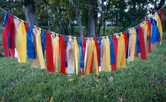 Superhero Party; Birthday Decoration; Kids Party; Red, Blue, Yellow & Gold Fabric Tassel Banner; Superman; Wonder Woman; Cake Smash Party