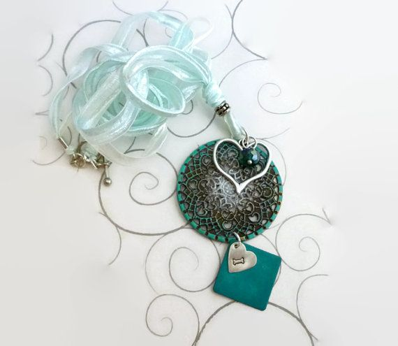 Dog Heart Necklace with Mint Green Ribbon Silver by BlissfulVine, $42.00