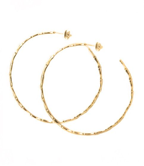 "14 kt gold plated bamboo hoop earrings from Natalie's vintage vault. 2 1/2"" wide"