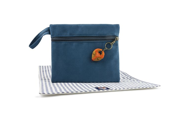 Bax & Bay  Luxury accessories for parents Cobalt Suede Clutch with Mat  www.baxandbay.com www.alegremedia.com #alegremedia