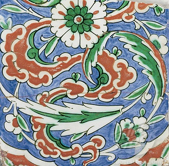 SuperStock - Partial Iznik Pottery Tile, Ottoman Turkey Late 16th Century Islamic Art