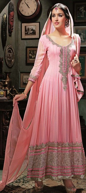 417233: #Pink and Majenta color family unstitched #Anarkali Suits. #wedding #bridesmaid #sale #onlineshopping #Pastel #mughal #ethnic #traditional #India