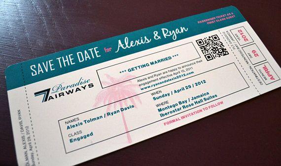 Destination Wedding Plane Ticket Save The Date Invitation