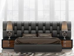Dormitorio con cabecero de formas curvas y entrelazadas, tapizado en polipiel Star Zero. Mod. KLII-112