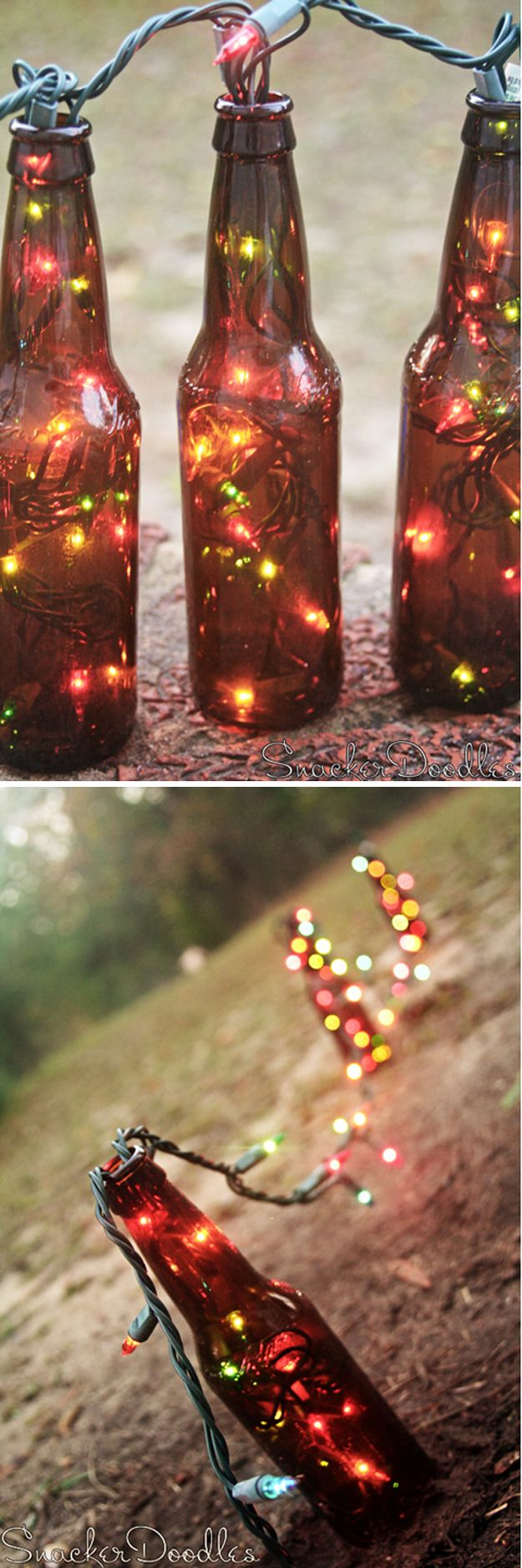 DIY Beer Bottle Light Crafts by DIY Ready at  www.diyready.com/diy-projects-uses-for-beer-bottles/