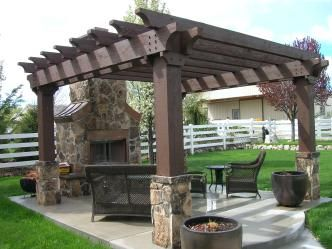 Fireplace and pergola designs outdoor pergola with for Outdoor gazebo plans with fireplace