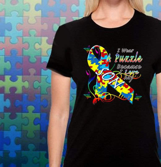 I Wear A Puzzle Because I Love My Son Autism T-Shirt by MagikTees