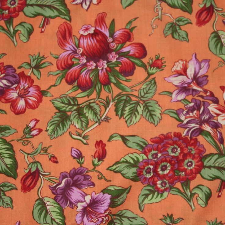 Fresh Blooms Flower Market by April Cornell 100% Cotton Quilt Apparel Craft Tossed Flowers on Orange Retro Vintage Floral RARE Out of Print by JacobandChloesLLC on Etsy