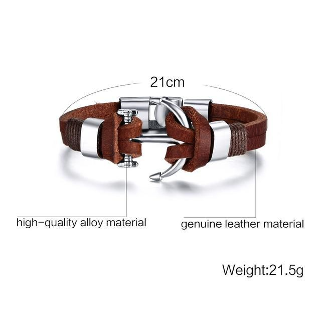 Leather vintage anchor bracelet for men