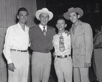 From left: Carl Smith, Red Foley, Hank Snow and Hank Williams Sr. (Circa early 1950's.)