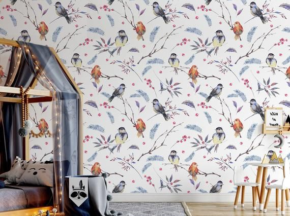 Watercolor Wallpaper With Blue And Red Bird Pattern For Etsy Watercolor Wallpaper Bird Wallpaper Bedroom Wallpaper