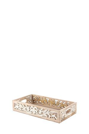 "Wooden tray with hand carved floral detail. This tray is ideal for perfume bottles and candles as well as keeping odd bits and bobs like small change and car keys in one place.<div class=""pdpDescContent""><BR /><b class=""pdpDesc"">Dimensions:</b><BR />L38.5xW25.5xH7 cm</div>"