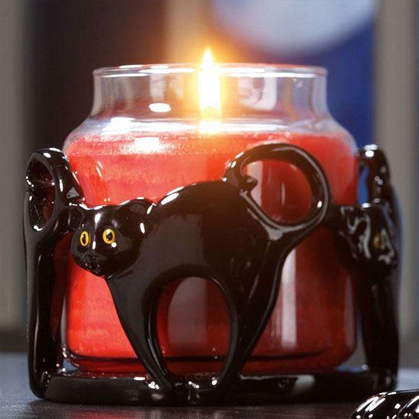 Ozdobný keramický svícen s motivem černých koček na střední a velké sv