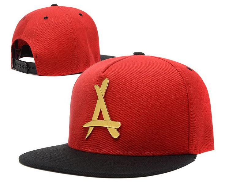 "Mens THA Alumni The Classic ""A"" Iron Gold Metal Logo A-Frame USA 2016 Best Quality Fashion Leisure Snapback Cap - Red / Black"