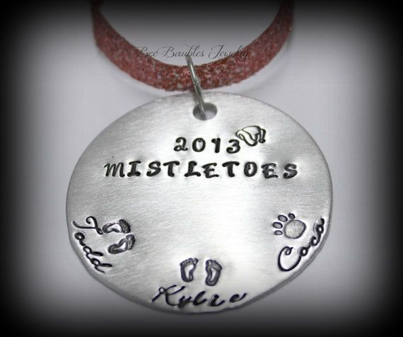 Hand Stamped Personalized Holiday Ornament - Christmas Ornament - Christmas Tree Ornament