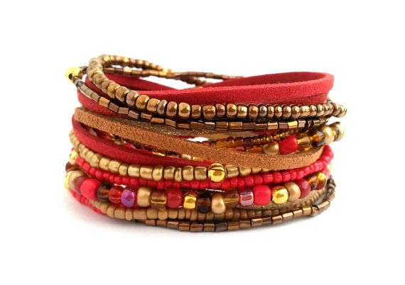 Red Gold Brown Bracelet Wrap Bracelet Seed Bead by AccessoriesByLO
