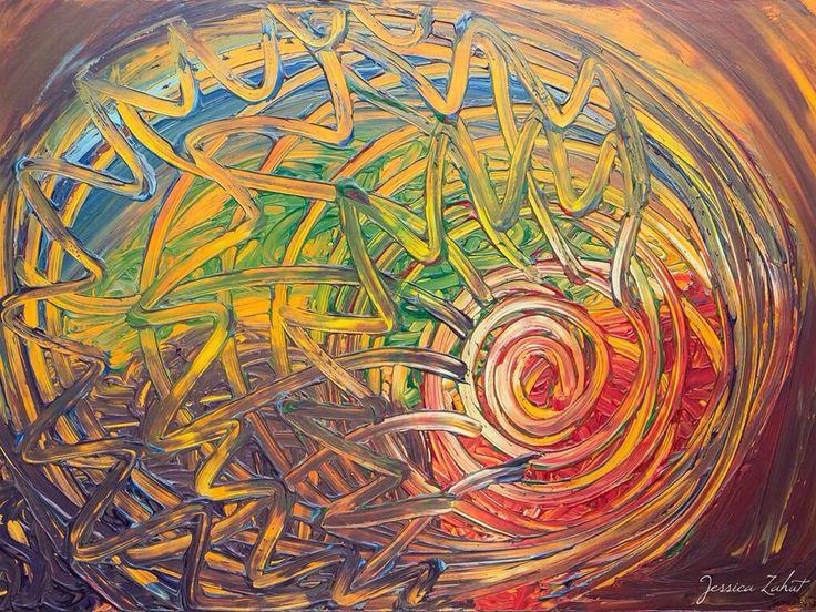 Finger painting artist  Florence Jessica Zahut