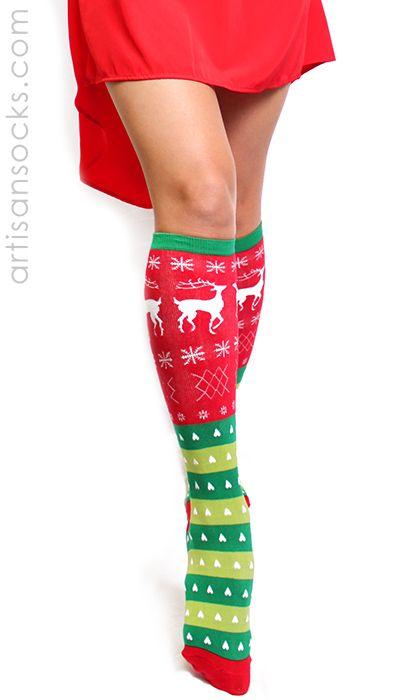 Tacky Sweater Socks - Knee High Chistmas Socks by Sock It To Me from Artisan Socks www.artisansocks.com
