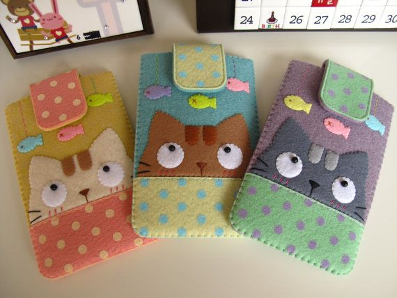 Love these felt cat phone cases