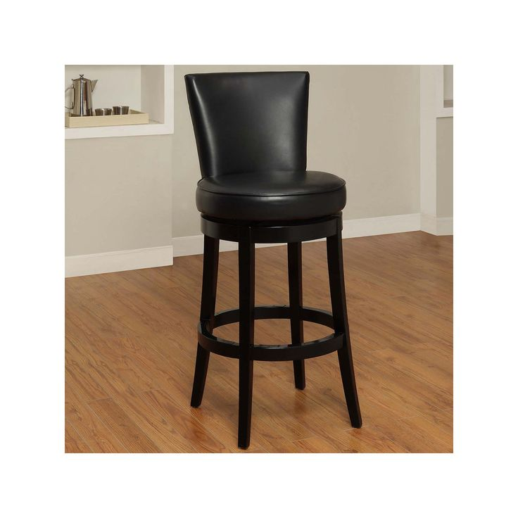 Armen Living Newark Swivel Bar Stool, Black
