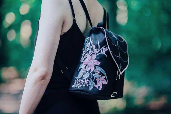 Black Leaf Mini Backpack Embroidered Bag Waterproof