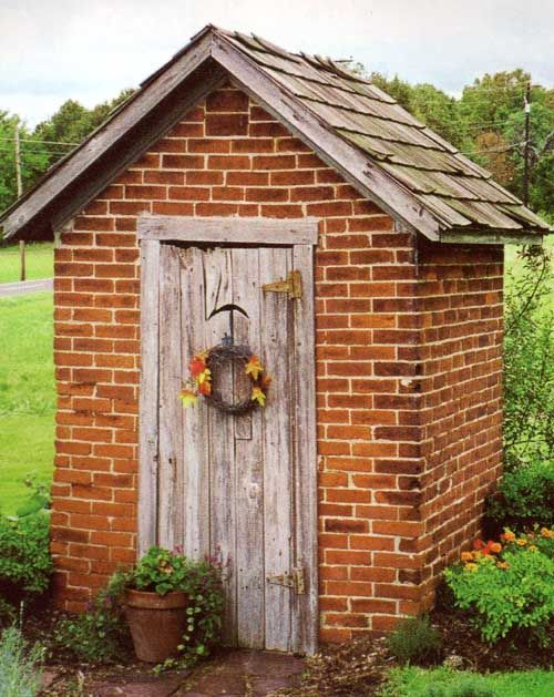 183 best outhouses images on pinterest out house sheds for Brick garden shed designs