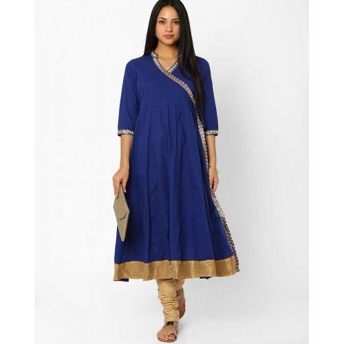 BE INDI Blue Angrakha Cotton Kurta