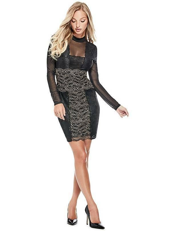 5dde92fd41c GUESS Women s Long Sleeve JoJo Lace Dress Jet Black Multi size M ret  108   GUESS  BodyconDress