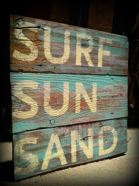 Sign Reclaimed Barn Wood Surf Sun Sand Beach by WallStarGraphics, $75.00