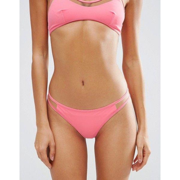 ASOS Mix and Match Mesh Insert Brazilian Bikini Bottom (85 HRK) ❤ liked on Polyvore featuring swimwear, bikinis, bikini bottoms, pink, pink bikini bottoms, sheer bikini, low rise bikini, see through bikini and brazilian bikini swimwear