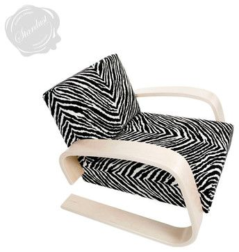 Alvar Aalto 400 Tank Chair with Zebra Upholstery by Artek modern-armchairs (a Vitra chair from 1935)