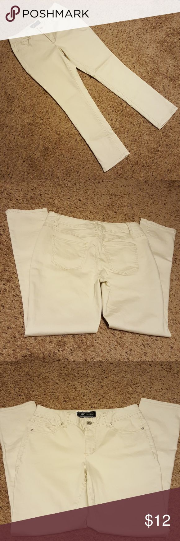 """Cato Premium Jeans Size 6 New without tags! Off white pants. They have more of a jeans texture. 4 real pockets. Laid flat: 38"""" length, 16"""" waist. Cato Premium Jeans"""