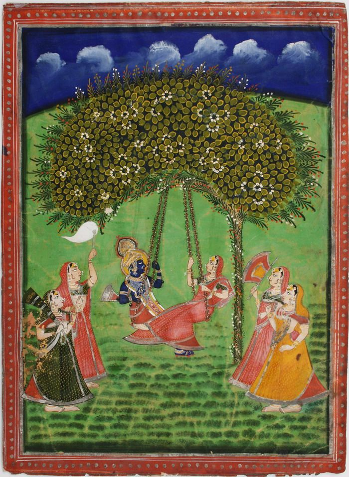 www.IndianMiniaturePaintings.co.uk - Indian miniature painting: Krishna and Radha swinging from a tree, gopis in attendance. Nathdwara, early - mid-century. Gouache, gold and silver on wasli. 34.7 x 25.2cm