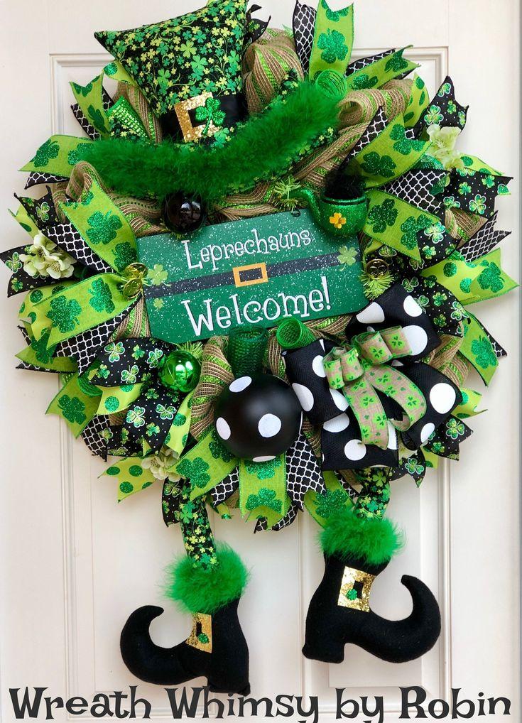 Saint Patrick's Day Leprechaun Deco Mesh Wreath, Front Door Wreath, Irish Wreath, Character Wreath, St Patrick Decor, Leprechauns Welcome by WreathWhimsybyRobin on Etsy