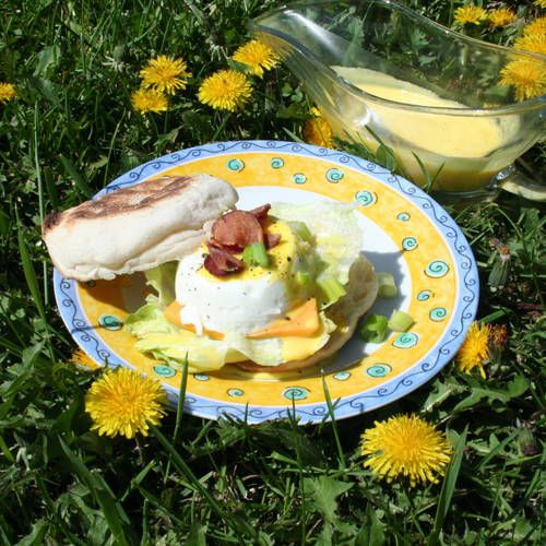 Eggs Benedict with Blender Cream Cheese Hollandaise Sauce