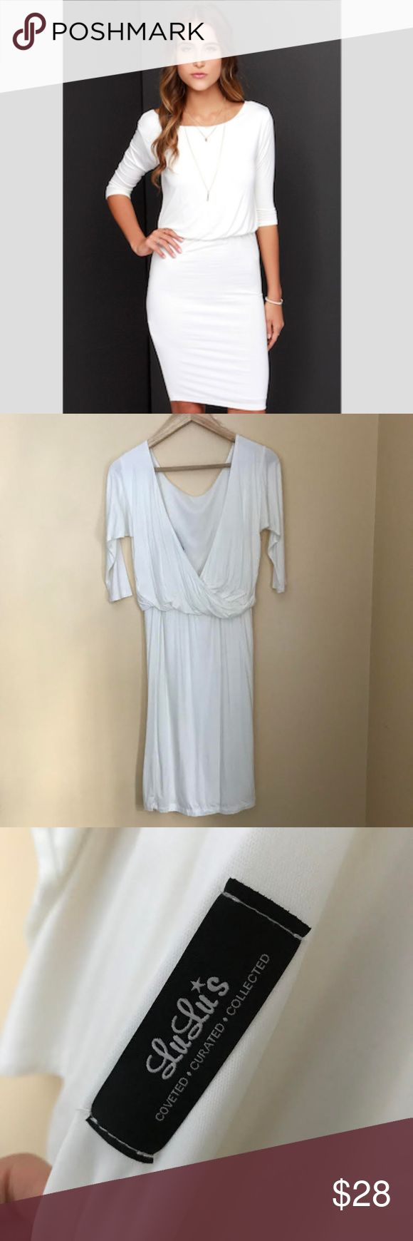 NWT Lulus All or Nothing Ivory Backless Dres Lulus Exclusive All or Nothing Ivory Backless Dress.  NWT Never worn!  Lulus Exclusive! Day or night, and all year long, the All or Nothing Ivory Backless Dress will be your strongest staple! The softest ivory jersey knit lays the foundation for this chic half sleeve dress with a rounded neckline, and billowy bodice that perfectly complements the low, surplice back. From the fitted elasticized waist, a fitted tube skirt drops to end at a…