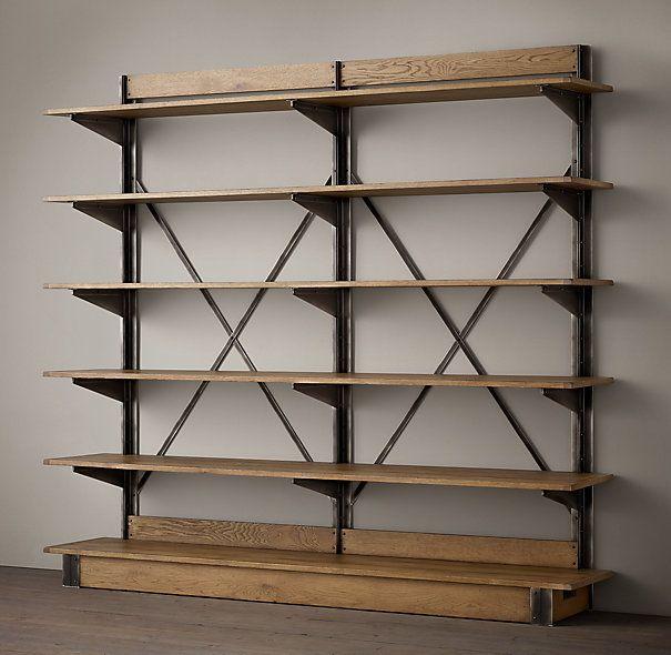 oak u0026 iron crossbrace double shelving metal