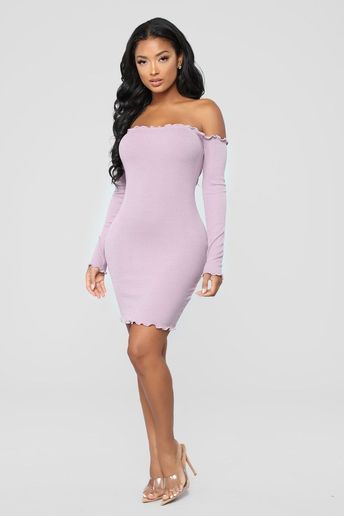 617401597706 Your Cheatin  Heart Off Shoulder Dress - Lilac in 2019