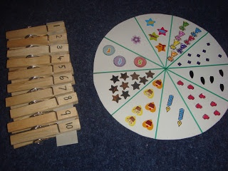 Clothes pins with numbers written on them to match up with correct number of stickers on wheel or cardboard strip.