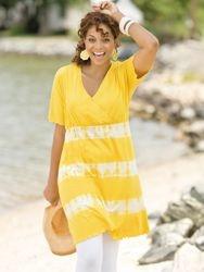 Surplice Tie-dye Tunic Dress