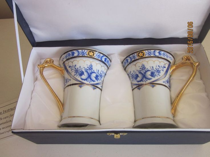 Two Sorelle Cobalt Blue Porcelain Mugs With Box Hand Crafted #Sorelle