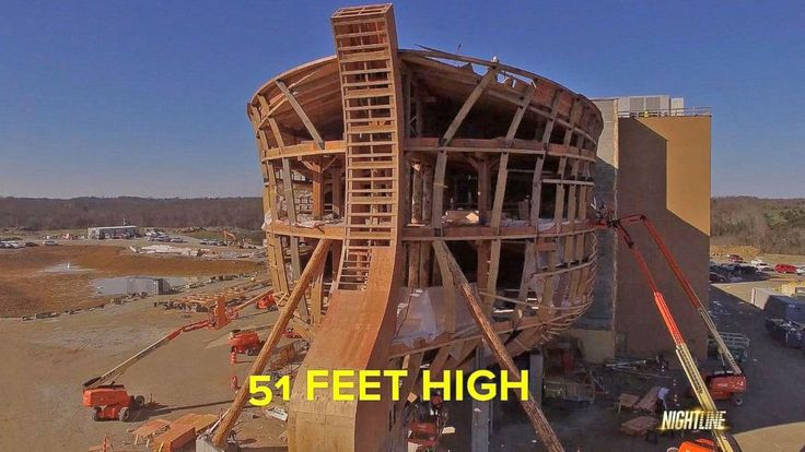 Watch the video Man Builds Full-Scale Replica of Noah's Ark in Kentucky on Yahoo Good Morning America . According to Ken Ham, the structure, which sits on 800 acres, is 510 feet long, 85 feet wide and 52 feet high.