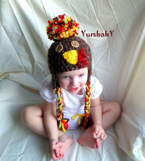 Turkey Hat Photo Prop Gift Ideas Boy Beanies Girl Hat by YumbabY, $26.95 #turkey #thanksgiving #hat #beanie #pompom #kids #giftideas