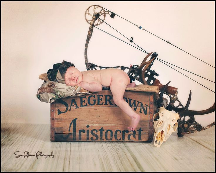 Inspiration For New Born Baby Photography : Duck Dynasty Western Newborn Photography Hunting  photographed by Sea Flowers P
