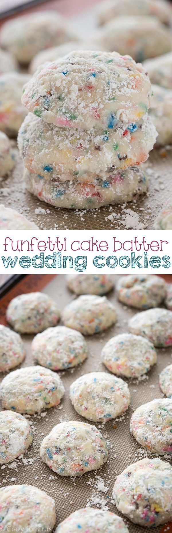 Easy Funfetti Cake Batter Wedding Cookies - my mom's recipe for Russian Tea Cakes made with cake batter funfetti flavor!