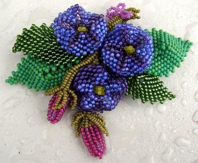beaded blue flowers